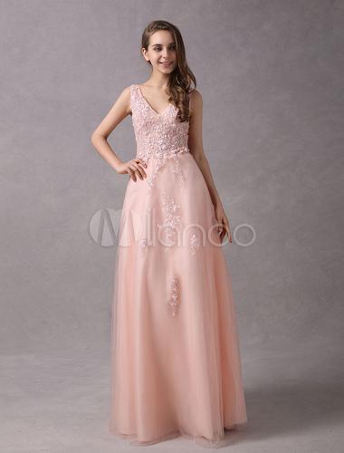 Abschlussball-Kleid-langes Erröten-Rosa-V-Ausschnitt-Spitze, die ...