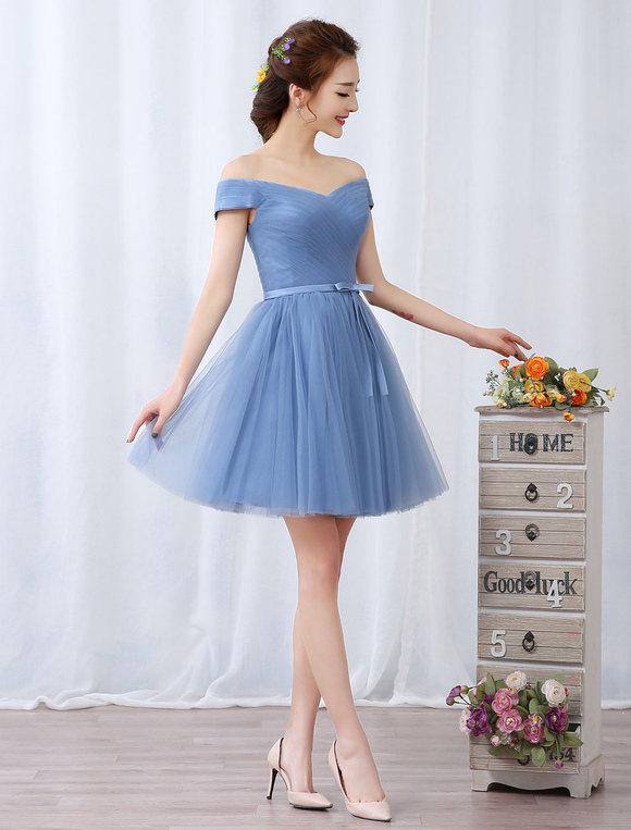0e3a9157c76 ... Short Prom Dresses Off The Shoulder Graduation Dress Baby Blue Tulle  Pleated Sash Cute Homecoming Dresses ...