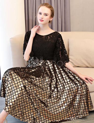 9b638e944 ... Vestido de graduación corto de encaje con lentejuelas vestido de  graduación negro Vestidos de fiesta largo ...