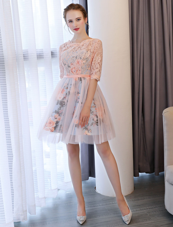 d8f63e90fa3ff Short Prom Dresses Soft Pink Floral Print Lace Half Sleeve Cute Graduation  Dress-No.