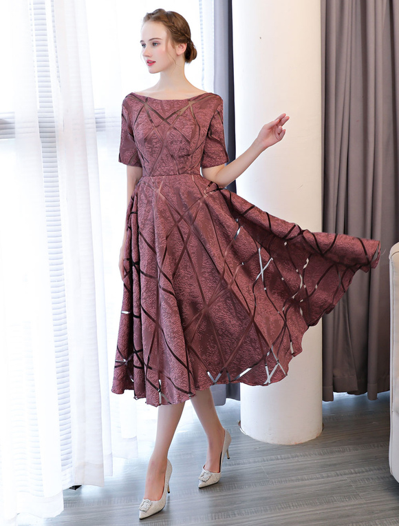 f8f4be7653c ... Short Prom Dresses Cameo Pink Half Sleeve Tea Length Cocktail Party  Dresses-No.4 ...
