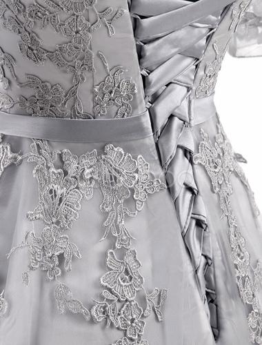 9fc72f4cd3a ... Prom Dresses 2019 Long Light Grey Maxi Evening Dress Lace Applique  Tulle Half Sleeve Floor Length