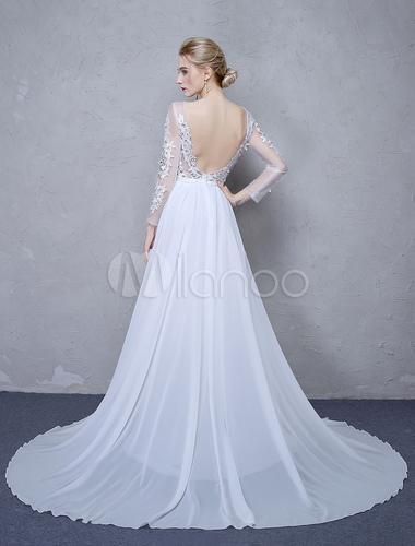 Summer Wedding Dresses 2018 White Lace Long Sleeve