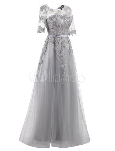 a8a45428e89 ... Prom Dresses 2019 Long Light Grey Maxi Evening Dress Lace Applique  Tulle Half Sleeve Floor Length ...