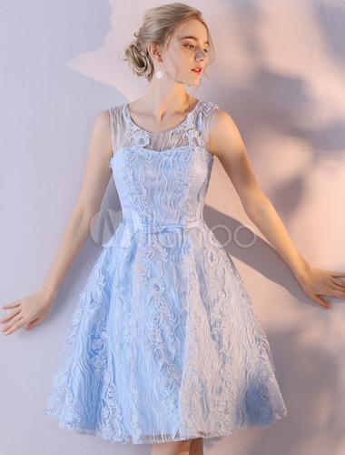 Kurze Prom Kleider Baby Blue Keyhole Lace Bow Sash Knielangen ...