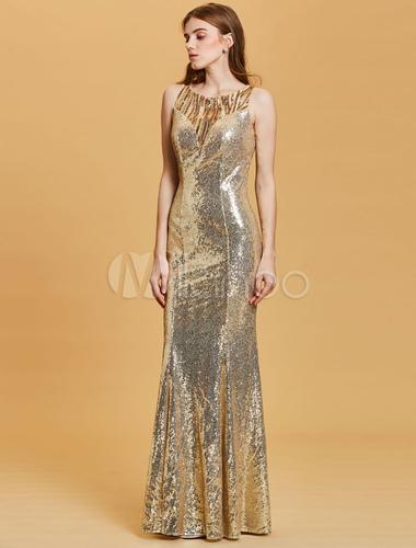 2323dce8b ... Vestidos de fiesta de lentejuelas Vestido largo de noche de sirena de  oro claro Vestido formal ...