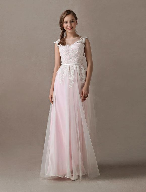 Brautkleider Soft Pink Lace Applique Tüll Sommer Strand Brautkleid ...
