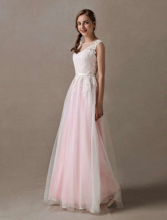 Wedding Dresses Soft Pink Lace Applique Tulle Summer Beach Bridal ...