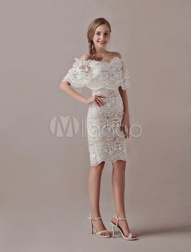 Robes de mariage boho courte dentelle hors de l 39 paule for Hors des robes de mariage san francisco