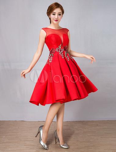 Vestidos De Graduación Rojos Vestido Corto De Cóctel Sin Mangas Hasta La Rodilla Ilusión Corta