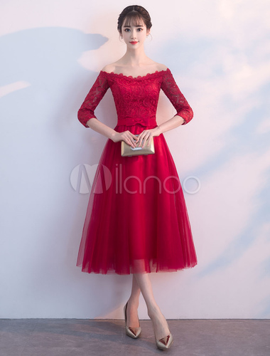 f850464fde2 Short Prom Dresses Burgundy Off The Shoulder Half Sleeve Bow Sash Lace  Tulle Cute Graduation Party Dress