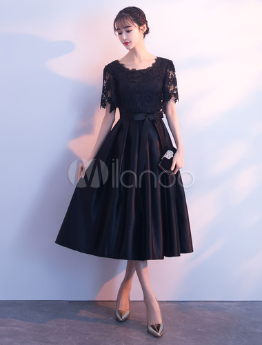 07431485d1c ... Black Cocktail Dresses Lace Satin Short Sleeve Prom Dress Bow Sash Tea  Length Graduation Party Dress ...
