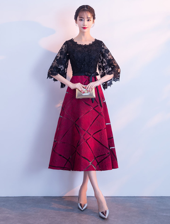 476924532957 ... Lace Cocktail Dresses Burgundy Short Graduation Dress A Line Half Sleeve  Wedding Guest Dress-No ...