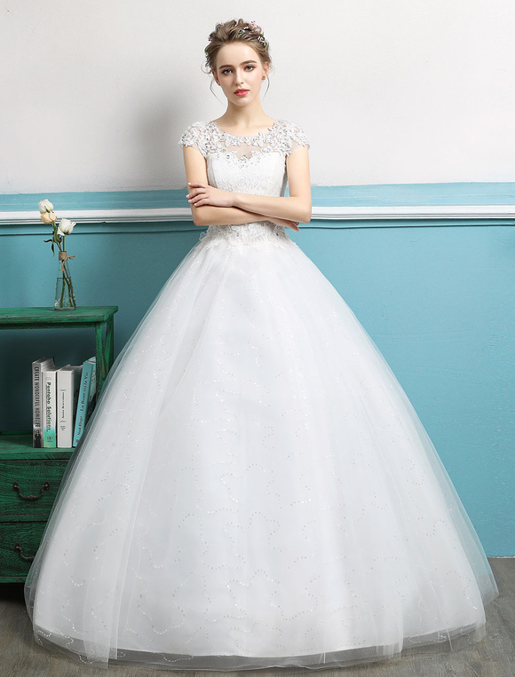 Princess Wedding Dresses Ball Gowns Lace Beaded Ivory Tulle Floor Length Bridal Dress Milanoo Com