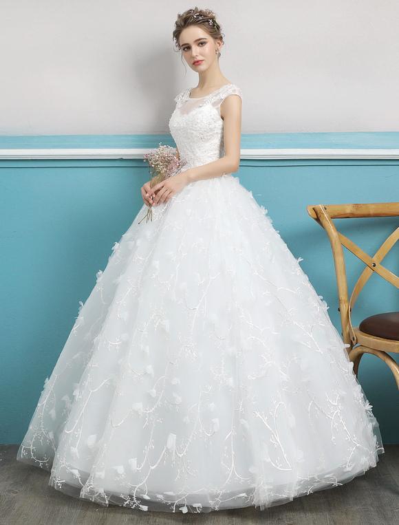 Princess Ball Gown Wedding Dress Ivory Lace Beading Illusion ...