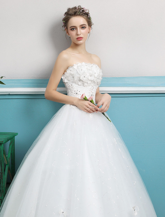 Princess Wedding Dresses Strapless Ball Gowns Flowers Beaded Tulle ...