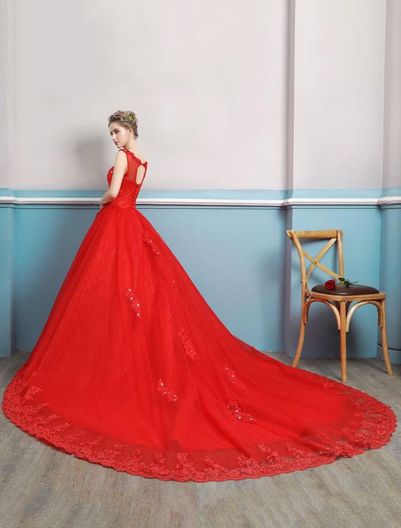 Red Wedding Dresses No Train