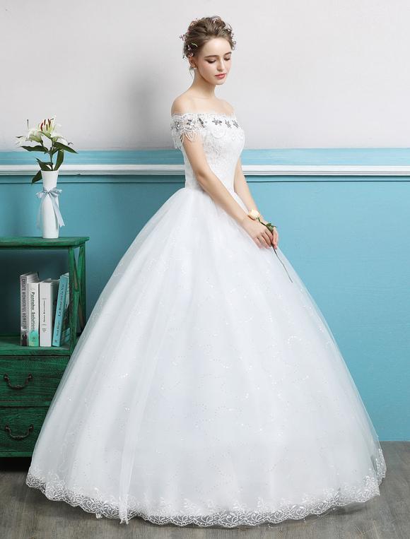 Princess Ball Gown Wedding Dresses Off The Shoulder Rhinestones