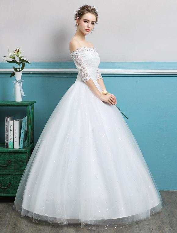 Princess Ball Gown Wedding Dresses Off Shoulder Lace Rhinestones