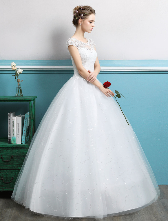 Princess Wedding Dresses Ball Gowns Lace Beaded Ivory Tulle Floor ...