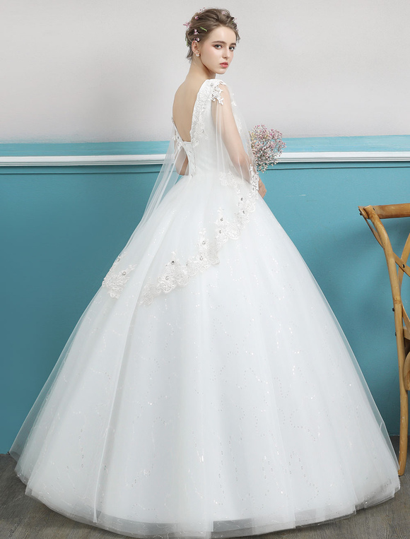 Princess Ball Gown Wedding Dresses Lace Ivory Beading Backless Floor ...