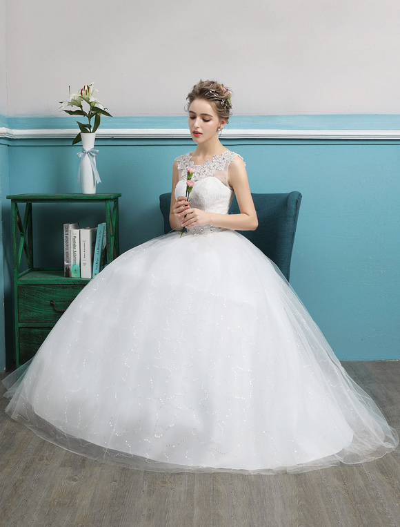 Princess Ball Gown Wedding Dresses Tulle Backless Ivory Beading ...