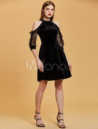 Kurzes Abschlussball-Kleid-halbes Hülsen-kleines schwarzes Kleid ...