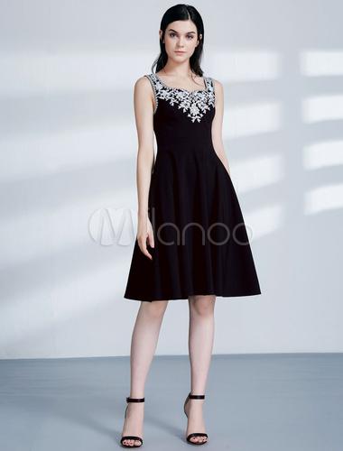 22c76b49e6d55 ... Vestidos de cóctel negro Vestido de invitados corto de boda escote  cuadrado-No.2 ...
