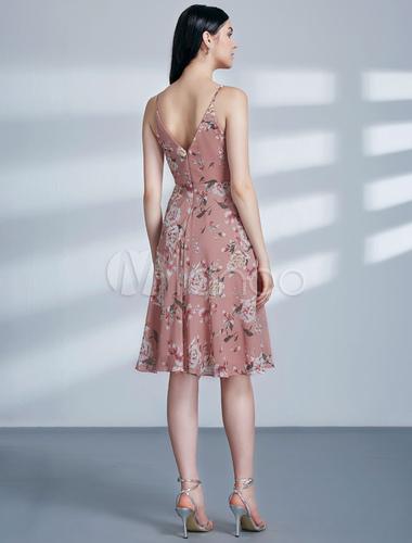 Homecoming Dresses Floral Print Blush Pink V Neck Chiffon Short Prom ...