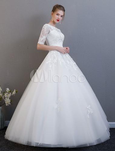 Princesa Vestido De Baile Vestido De Noiva Meia Manga Lace Marfim Fora Do Ombro Tule Vestido De Noiva