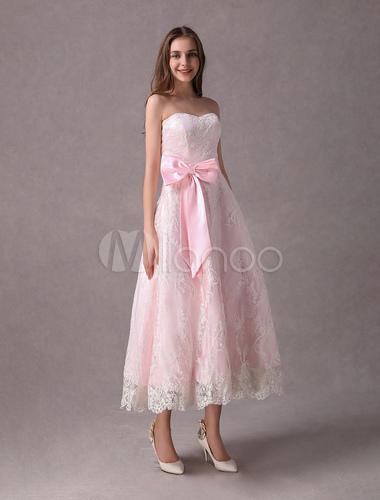 Lace Wedding Dresses Short Soft Pink Strapless Sweetheart Neckline ...