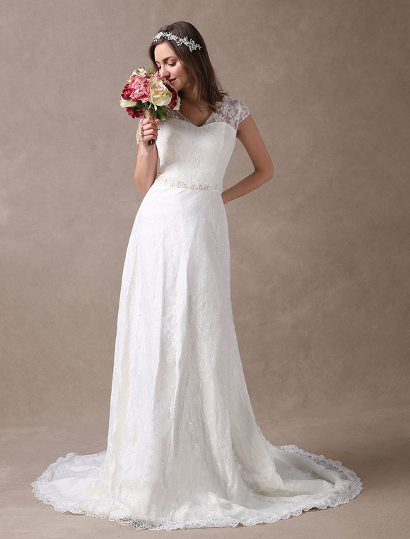 new concept 115ea 53282 Abiti da sposa in pizzo avorio scollo a V in chiffon con bordino manica  abito da sposa con cappuccio