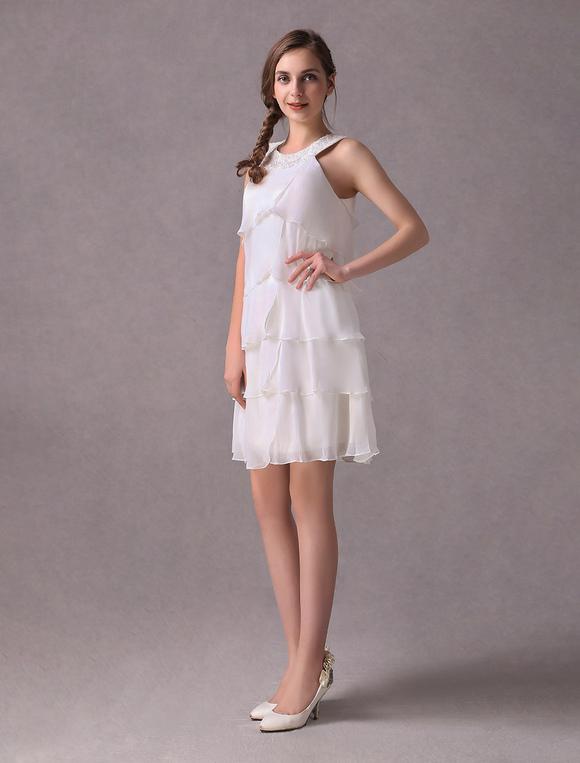 Kurze Brautkleider Elfenbein Chiffon Cocktail Party Kleid Perlen ...