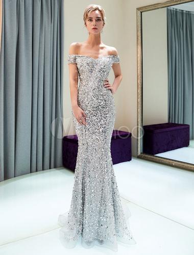 Abendkleider Silber Weg Von Der Schulter Pailletten Perlen Luxus Meerjungfrau Abendkleid Mit Zug Milanoo Com