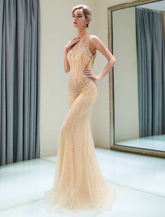 9f416523a7e ... Luxury Evening Dresses Mermaid Beading Light Gold Formal Gowns -No.4 ...