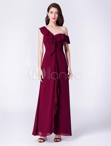 robes de demoiselle d 39 honneur bordeaux longue une paule. Black Bedroom Furniture Sets. Home Design Ideas