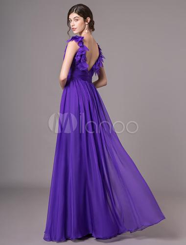 finest selection fc995 77510 Abiti da ballo color lavanda con scollo a V in chiffon e fiori lunghi senza  schienale