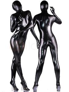 Влажный Сексуальный блестящий Черный Кетсьют Хэллоуин  Костюм Косплей Хэллоуин