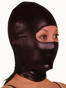 Блестящий металлический Черная маска с глаз Отверстия Хэллоуин