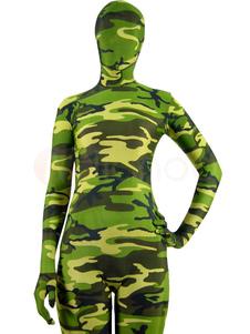 Costume Carnevale Abbigliamento mimetico collant in giallo e verde prato completo tuta militare lycra spandex per adulti unisex