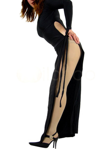 Сторона открыта черное платье спандекс лайкра Хэллоуин
