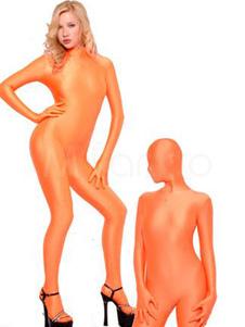 Disfraz Carnaval Zentai moderno de elastano de marca LYCRA de color naranja Halloween Carnaval