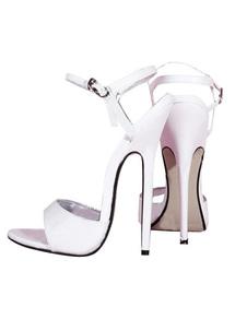 """6 1 / 4''Patente High Heel Toe Preto Sandália """"sexy"""" Open"""