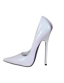 Zapatos blancos de de punta de tacón de aguja