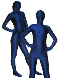 Costume Carnevale Zentai collant per adulti completo lycra spandex blu tuta tinta unito unisex