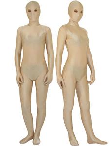 Halloween Zentai Suit Lycra Spandex Bodysuit Morphsuits Cor da carne com olhos abertos O Dia das Bruxas