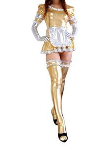 全身タイツ,メタリック 女性用 大人用 ゴールド メイド風 コスチュームドレス  ハロウィン