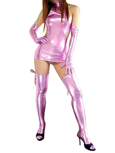 Женский розовый Секси леотард комбинезон латекс блестящий металлический костюм Хэллоуин