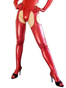 Сексуальный Красный блестящий металлический Колготки Хэллоуин