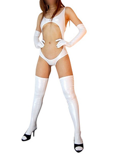 Disfraz Carnaval Blanco brillante metálico Sexy traje traje Halloween Carnaval